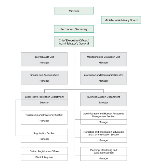 Organizational structure of Registration, Insolvency and Trusteeship Agency (RITA)