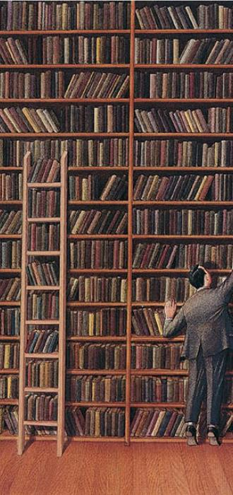 A man looks for books in a giant library